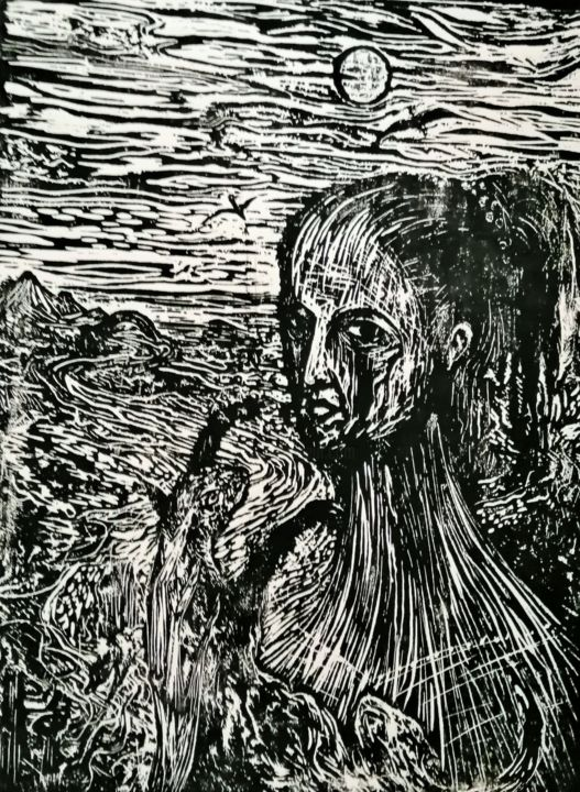 WOMAN with CAT - Printmaking,  23.6x17.7 in, ©2017 by Joseph Urie -                                                                                                                                                                          Figurative, figurative-594, MYSTERY