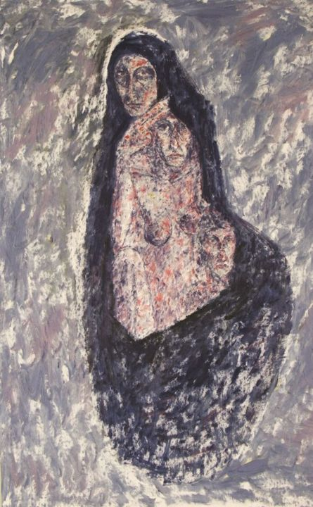 THE SHROUD - Painting,  31.5x25.2 in, ©1981 by Joseph Urie -                                                                                                                                                                          Figurative, figurative-594, MATERNAL