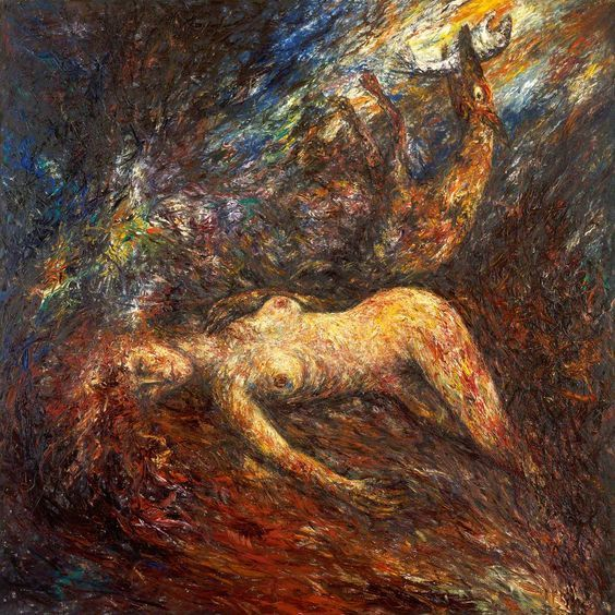 BEAUTY and the BEAST n0 3 - Painting,  45.7x44.1x0.4 in, ©1990 by Joseph Urie -                                                                                                                                                                          Figurative, figurative-594, MYTHOLOGY