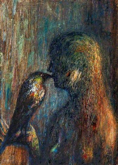 Woman with BLACKBIRD - Painting,  16.5x13.4x0.4 in, ©1990 by Joseph Urie -                                                                                                                                                                          Figurative, figurative-594, BIRDS