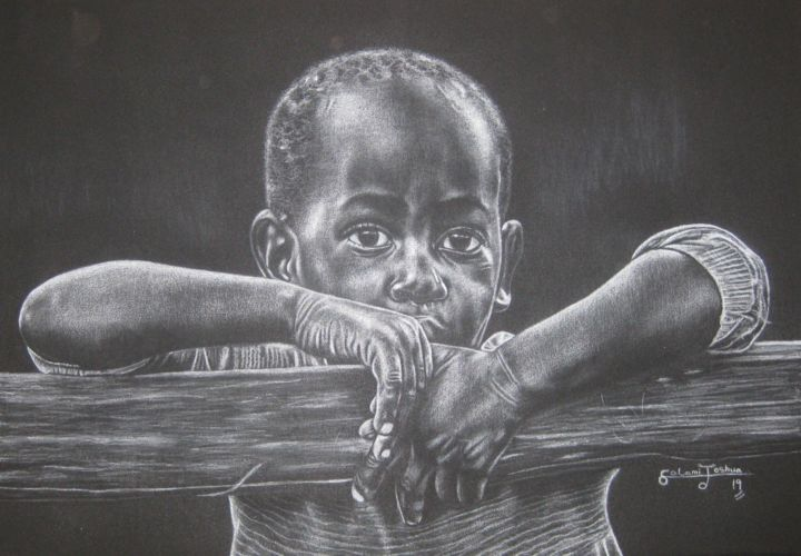 """Drawing titled """"The lone child"""" by Joshua Salami, Original Art, Pencil"""