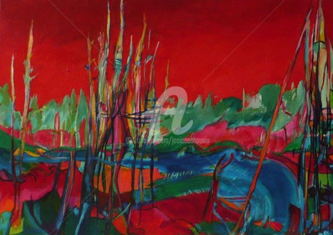 renaison rouge - Painting,  70x50 cm ©2007 by Josiane Chauvin -                            Contemporary painting, évocation de paysage-
