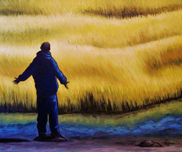 Figure du Québec - Painting,  30x36 in ©2011 by Josiane Gagnon -                            Contemporary painting, oil painting, yellow tones, landscape