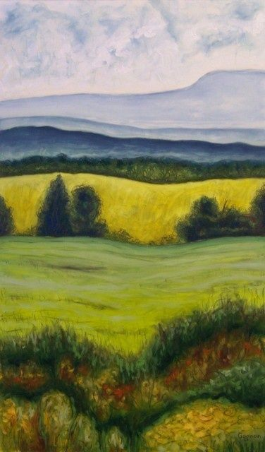 St-Jean-Port-Joli rural - Painting,  30x18 in ©2010 by Josiane Gagnon -                            Contemporary painting, oil painting, green tones, landscape