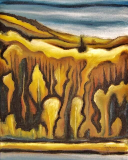 Ferland-et-Boilleau no.3 - Painting,  20x16 in ©2010 by Josiane Gagnon -                            Contemporary painting, oil painting, yellow tones, landscape