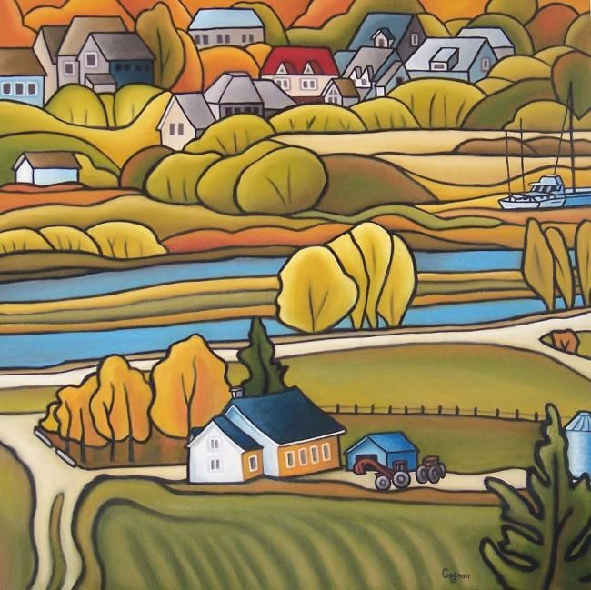 Baie-St-Paul no. 3 - Painting,  30x30 in ©2012 by Josiane Gagnon -                            Contemporary painting, oil painting, yellow tones, landscape