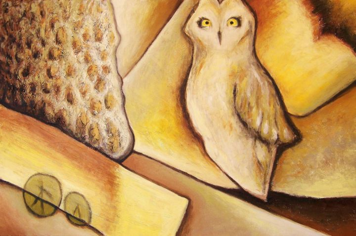La Chouette - Painting,  24x36 in ©2014 by Josiane Gagnon -                                            Contemporary painting, Animals, chouette, hibou, moderne