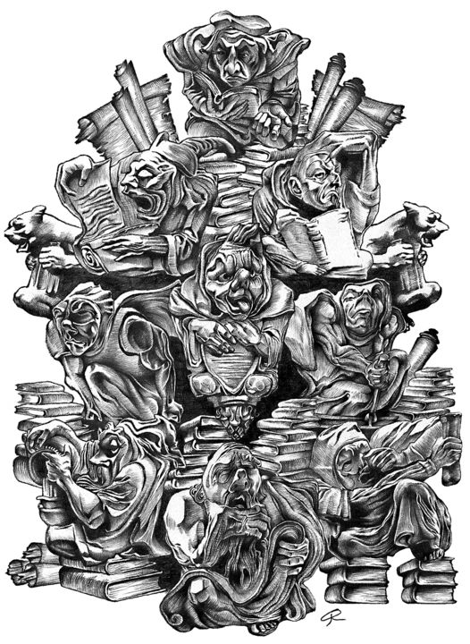 """Drawing titled """"Knowledge is a Dang…"""" by Journeymandesigns, Original Art, Pencil"""