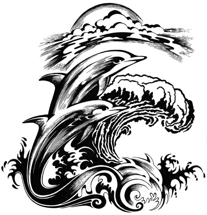"""Drawing titled """"Dolphins"""" by Journeymandesigns, Original Art, Ink"""