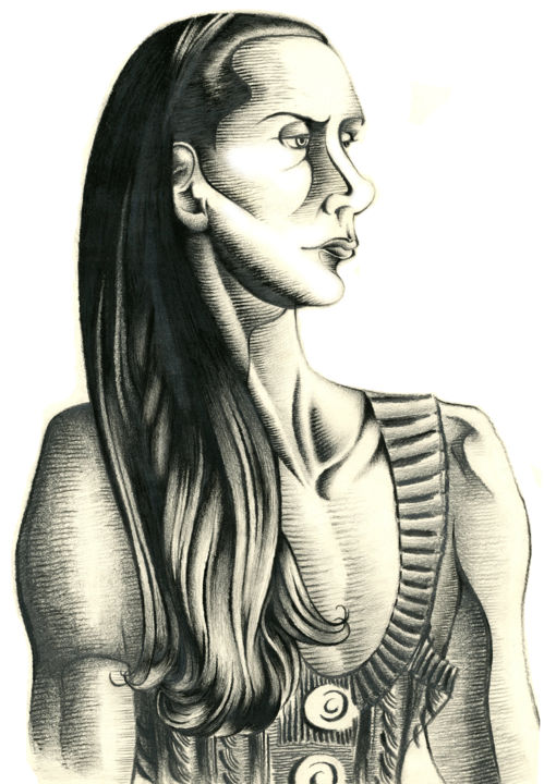 """Drawing titled """"Lady"""" by Journeymandesigns, Original Art, Charcoal"""