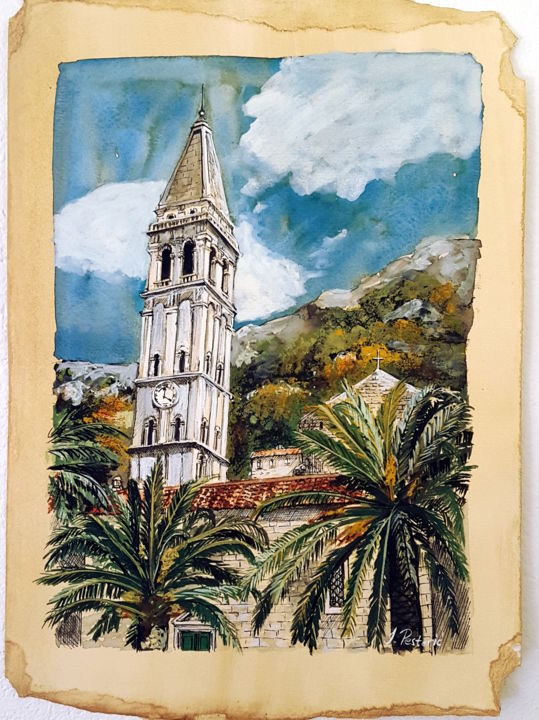 St. Nikola Church, Perast - Painting,  35x25 cm ©2019 by Jovana Pestoric -                                                        Figurative Art, Cityscape, Landscape, church, palm trees, green, blue, bell tower