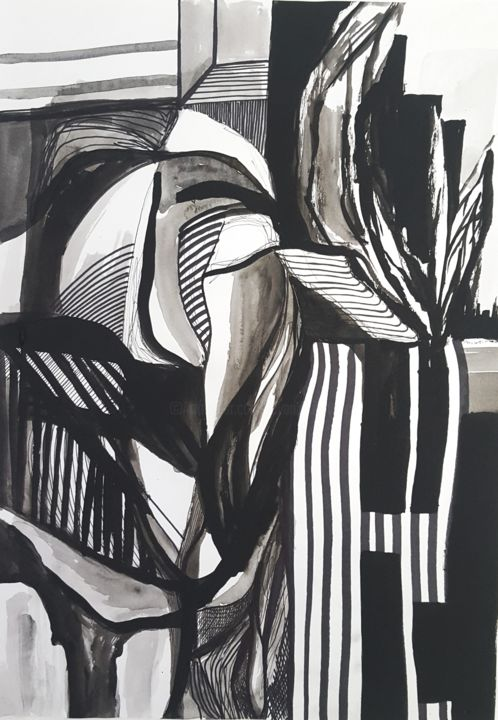The Sound of Lines - Drawing,  16.3x11.6 in ©2019 by Jovana Pestoric -                                            Abstract Art, Abstract Art, abstract, lines, ink, blackandwhite