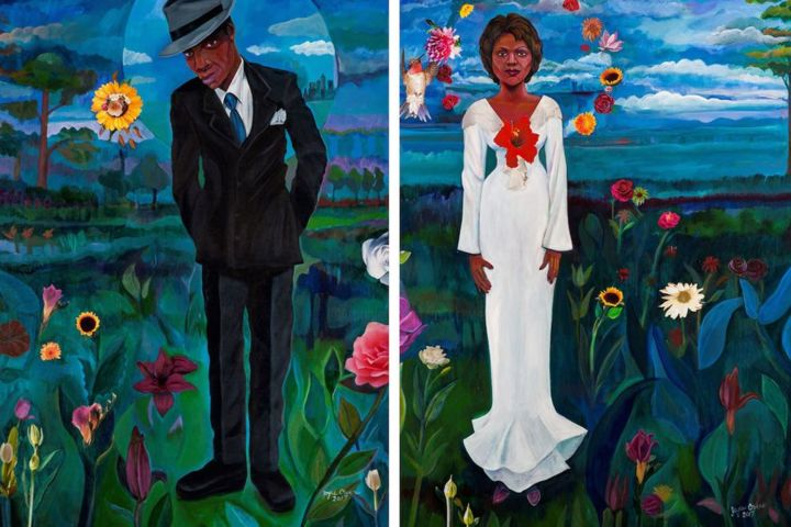 cooler-by-the-lake-diptych-blackstone-10th-floor-54-990x660.jpg - Painting,  40x60x2 in ©2017 by Joyce Owens -                                                        Figurative Art, Canvas, Fantasy