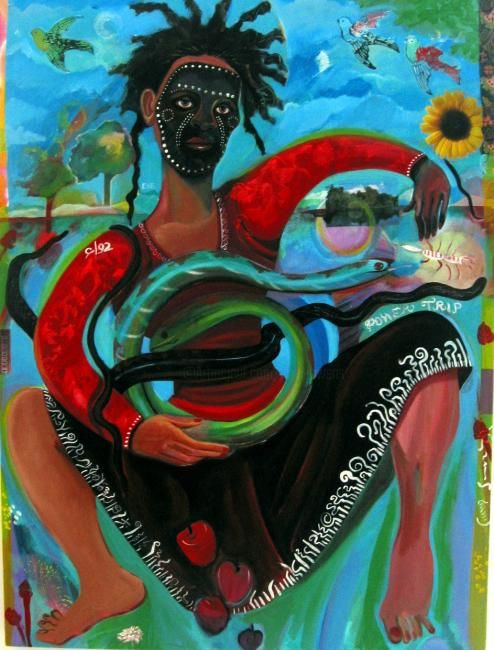 Eve's Power Trip - Painting,  40x30 in, ©2006 by Joyce Owens -