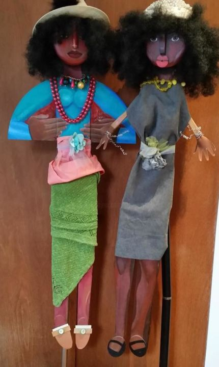 A Girl Like Me Grey and Green in Hats (on stands) - Sculpture,  57x20x6 in, ©2007 by Joyce Owens -