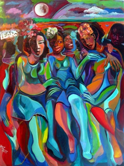 Always - Painting,  40x30 in ©2008 by Joyce Owens -                                                            Figurative Art, Canvas, Women, Friends, always, entanglements, friendship, time, change