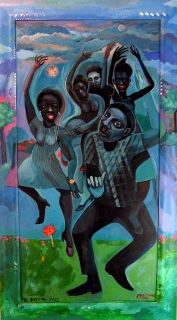The Birth of Jazz - Painting,  48x24 in, ©2006 by Joyce Owens -