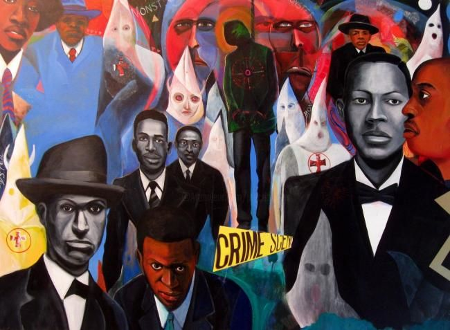 The Medieval in America - Painting,  30x40 in ©2008 by Joyce Owens -            crime, criminal, race, men, lynching, KKK, African American, America, picnic