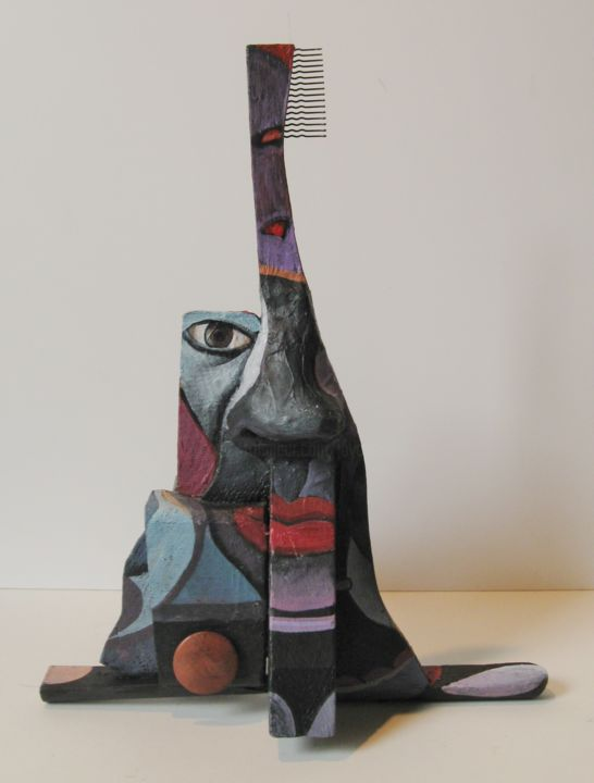 Retro-racing Picasso #2 -12x10x8-2012.jpg - Sculpture,  8x10x12 in ©2012 by Joyce Owens -