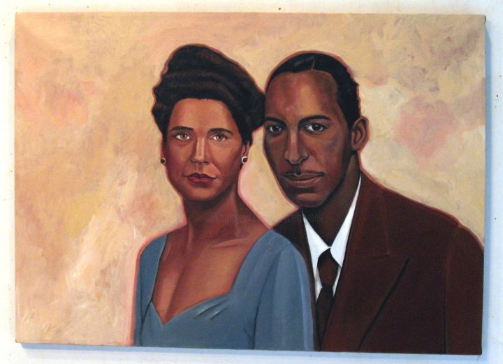 Ed Gordon's parents - Painting ©2011 by Joyce Owens -                                                            Figurative Art, Canvas, Love / Romance, Ed Gordon, parents, Olympics, commission, Joyce Owens