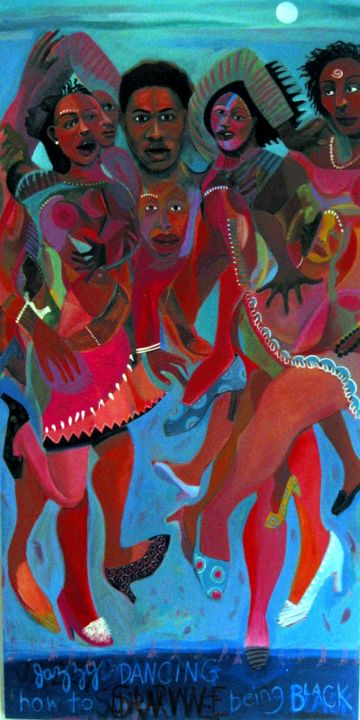 Jazzy Dancing: How to Survive Being Black - Painting,  48x24x3 in ©2008 by Joyce Owens -                                                            Figurative Art, Wood, Body, race, dance, jazz, life