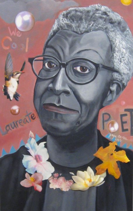 -more-than-cool-detail-feb-29-2016-acrylic-and-collage-on-canvas.jpg - Painting,  30x12x2.5 in ©2017 by Joyce Owens -                                                            Contemporary painting, Canvas, Portraits, Gwendolyn Brooks, Pulitzer Prize, Poet laureate of Illinois, American, African American, woman, flowers, pearls