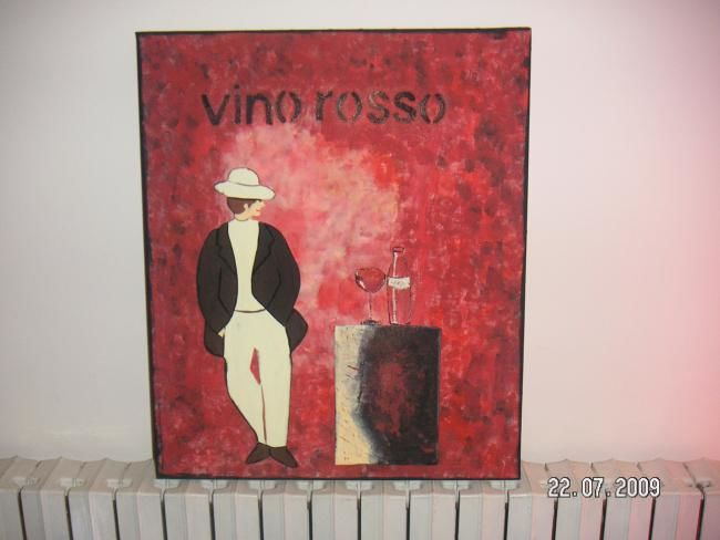 "PEINTURE CONTEMPORAINE ""VINO ROSSO"" - Painting,  15.8x19.7 in, ©2009 by JPARZY -                                                              TABLEAU PEINTURE CONTEMPORAINE ""VINO ROSSO"""