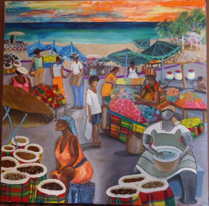 MARCHE A SAINT MARTIN -GUADELOUPE- - Painting,  31.5x31.5 in, ©2014 by JPARZY -                                                                                                              Performing Arts, TABLEAU PEINTURE A  L'HUILE CONTEMPORAINE