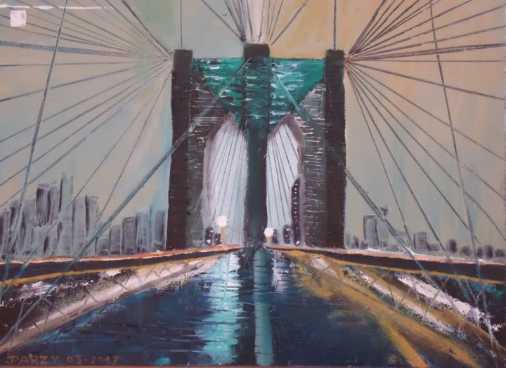 """""""LE PONT DE BROOKLYN"""" - Painting,  11.8x15.8 in, ©2017 by JPARZY -                                                                                                              Cityscape, PEINTURE URBAINE"""