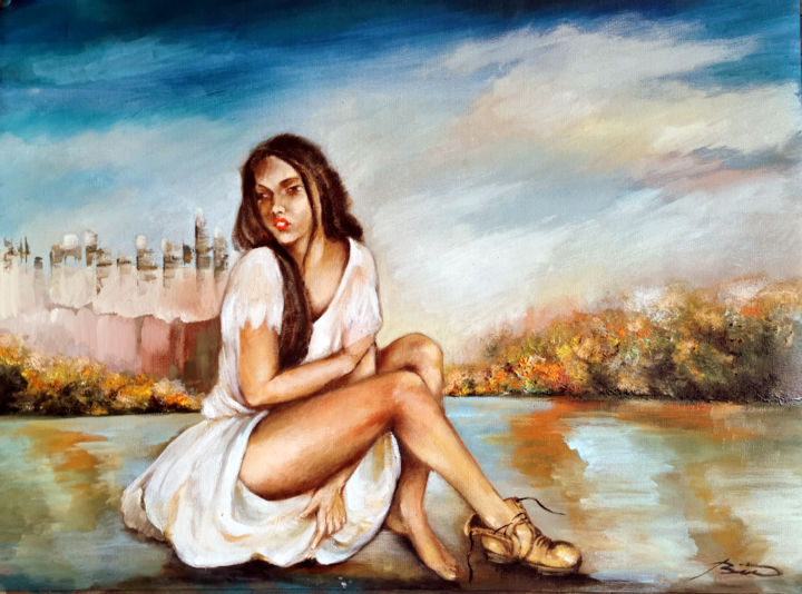 """Painting titled """"lonely in the city.…"""" by Biro, Original Art, Oil"""