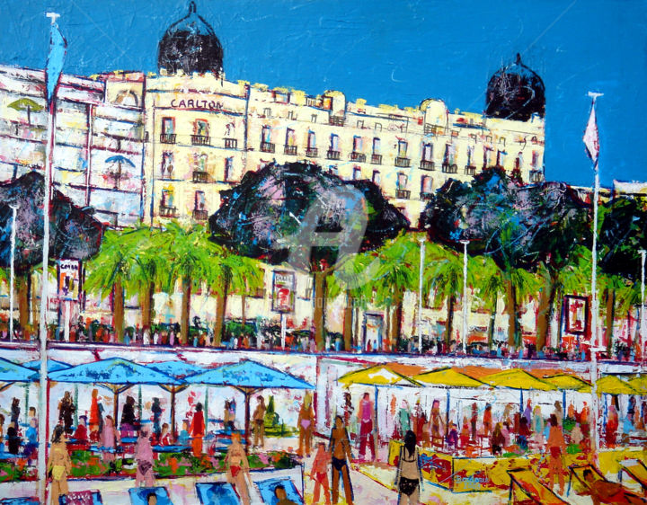 """Painting titled """"La plage devant le…"""" by Jean-Pierre Borderie, Original Art, Acrylic Mounted on Stretcher frame"""