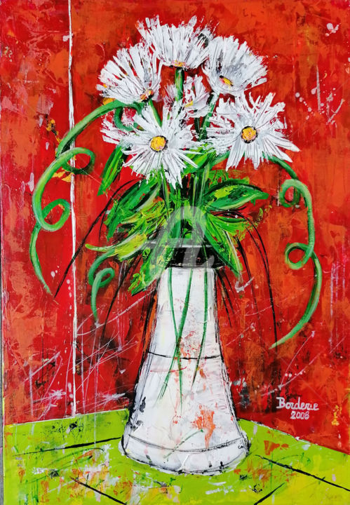 """Painting titled """"Le vase blanc"""" by Jean-Pierre Borderie, Original Art, Acrylic Mounted on Stretcher frame"""