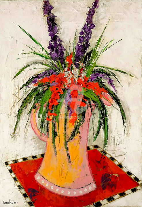 """Painting titled """"Bouquet au tapis ro…"""" by Jean-Pierre Borderie, Original Art, Acrylic Mounted on Stretcher frame"""