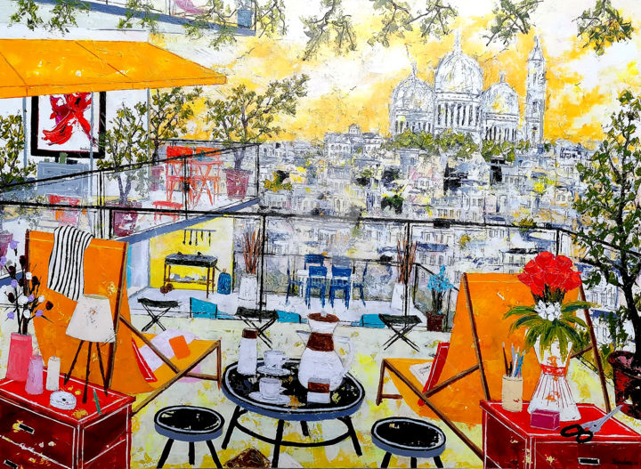 """Painting titled """"Les terrasses."""" by Jean-Pierre Borderie, Original Art, Acrylic Mounted on Stretcher frame"""