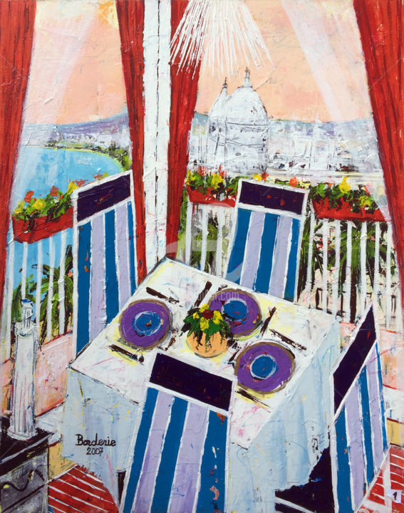 """Painting titled """"Appartement devant…"""" by Jean-Pierre Borderie, Original Art, Acrylic Mounted on Stretcher frame"""