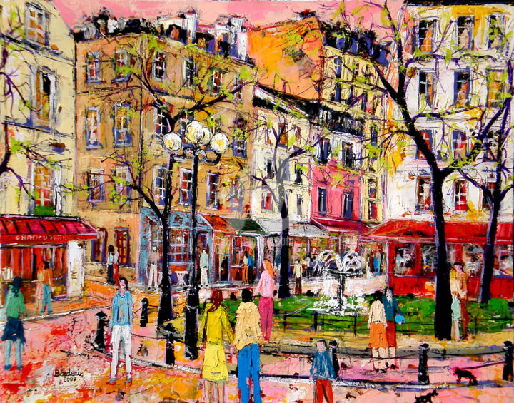 Place de la Contrescarpe. Paris - Peinture,  25,6x31,9 in, ©2006 par Jean-Pierre Borderie -                                                                                                                                                                                                                                                                                                                                                                                                                                                                                                                                                                                                              paris, france, peinture, acrylique, place, collectionneur, cadre, contrescarpe, tableau, toile, musee, borderie, peintre