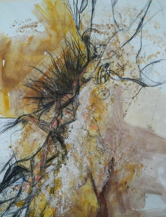 """Drawing titled """"passion-mixed-media…"""" by Julija Petrovic, Original Art, Other"""