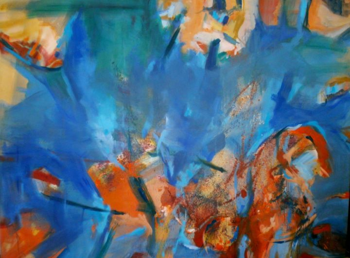 """Painting titled """"Fire in water"""" by Julija Petrovic, Original Art, Oil"""