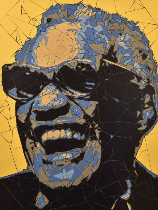 ray.jpg - Sculpture,  32.3x24.4x0.8 in, ©2016 by J P Lavernot -                                                                                                                                                                                                                                                                                                                                                                                                                                                                                                                                                  Figurative, figurative-594, Ceramic, Stone, Pop Culture / celebrity, Celebrity, Music, mosaïque, ray charles, musique, chanteur