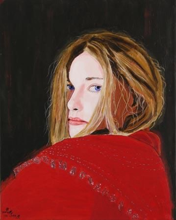 """Painting titled """"The Red Queen"""" by Jean-Paul Setlak, Original Art,"""