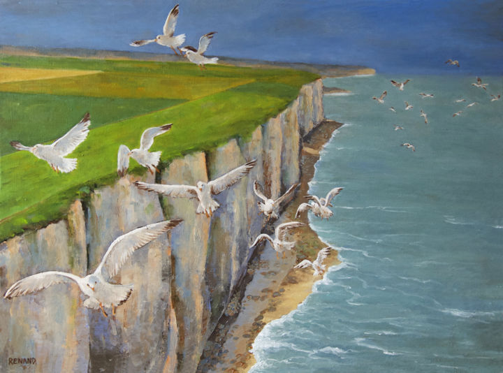 """Painting titled """"Falaises normandes"""" by Renand, Original Art, Oil"""