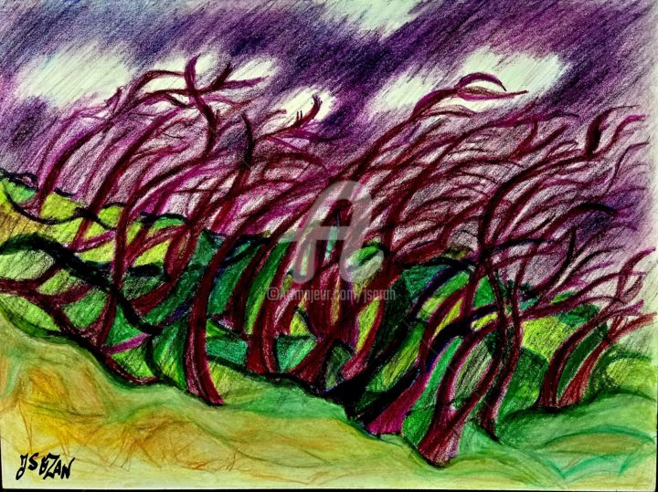 L'ORAGE S'ANNONCE - Drawing,  9.1x12.2 in, ©2018 by JACQUELINE SARAH UZAN -                                                                                                                                                                                                                                                                      Fauvism, fauvism-942, Landscape, , orage