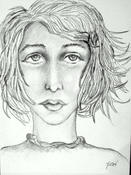 CHEVEUX AU VENT - Drawing,  12.6x10.6 in, ©2018 by JACQUELINE SARAH UZAN -                                                                                                                                                          Portraits, , cheveux