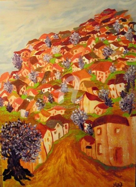 le village en fleurs - Painting,  70x50 cm ©2011 by JACQUELINE SARAH UZAN -                                            Naive Art, Wood, village au printemps