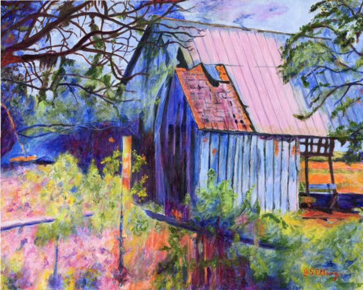 """Painting titled """"The Old Barn in the…"""" by J S Ellington, Original Art, Acrylic"""