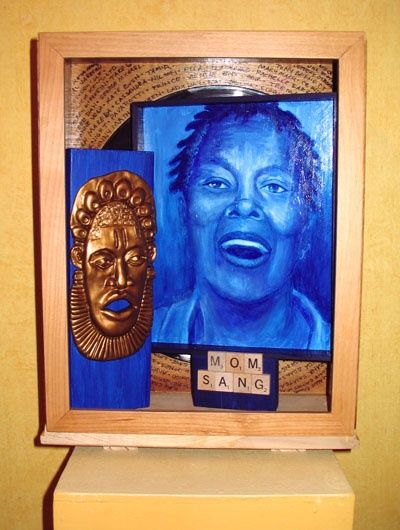 Mama Sang - © 2010 Painted portrait, sculpture and assemblage inside reclaimed dresser drawer Online Artworks