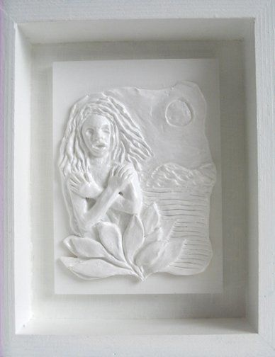 Self-Portrait (inner) - Collages, ©2009 by Juarez Hawkins -                                                              Relief sculpture of woman emerging from flower