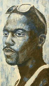 Far Away - Painting,  24x18 in ©2008 by Juarez Hawkins -                            Portraiture, A painting of a young African American male