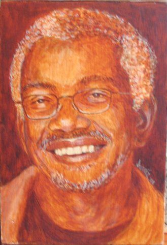 McMoma - Painting,  12x10 in, ©2008 by Juarez Hawkins -                                                              Portrait of Patric McCoy