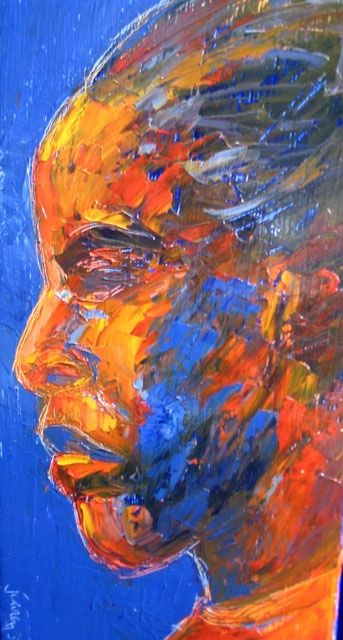 Portrait Screen (left panel) - Painting,  5.5x2.4 in, ©2007 by Juarez Hawkins -                                                              Portrait of a young woman
